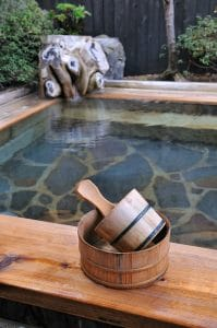 Japanese Open Air Bath Wooden Bucket