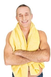 Old Man Smiling with Towel