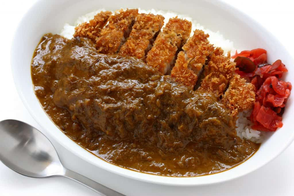Japanese Food Katsu Curry Plate with Rice and Japanese Pickles