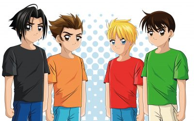 "An illustration of four young boys standing next to each other wearing different color shirts (black, orange, red, green). They are looking slightly angry or trying to be ""tough."""