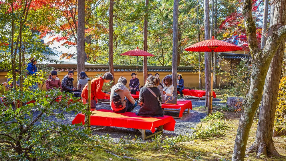 Kinkakuji - Having Tea and Snacks
