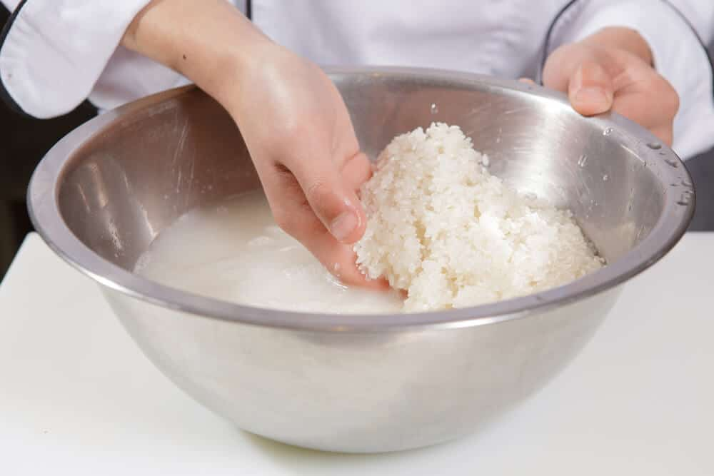Cooking Japanese Rice Washing in Bowl