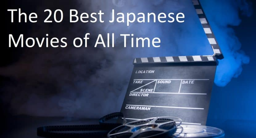 """A dark background with smoke and a director's """"cut"""" take board with two rolls of film on the ground. The text reads,""""The 20 Best Japanese Movies of All Time"""""""