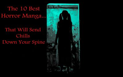 "Silhouette of a Creepy girl with ponytails holding a doll-like figure in her left hand and a knife in her right hand - Article title displayed ""The 10 Best Horror Manga That Will Send Chills Down Your Spine"""