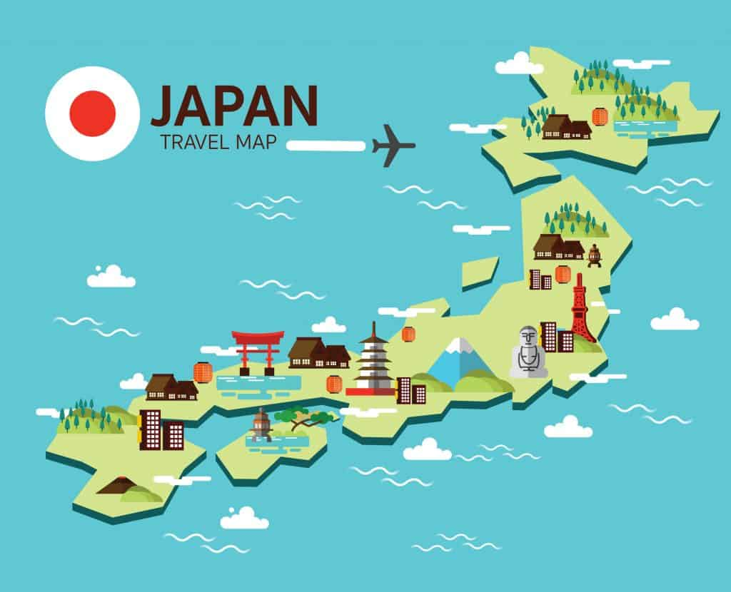 A cartoon map of Japan along with icons of some of its famous attractions