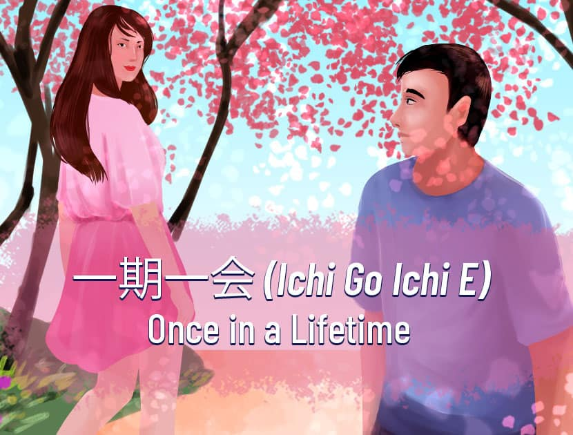 "An illustration of a woman and a man walking past one another, looking back at each other to indicate some interest in one another. A tree is in the background. The Japanese text and the English translation is in the middle that says, ""Ichigo Ichie - Once in a Lifetime."""