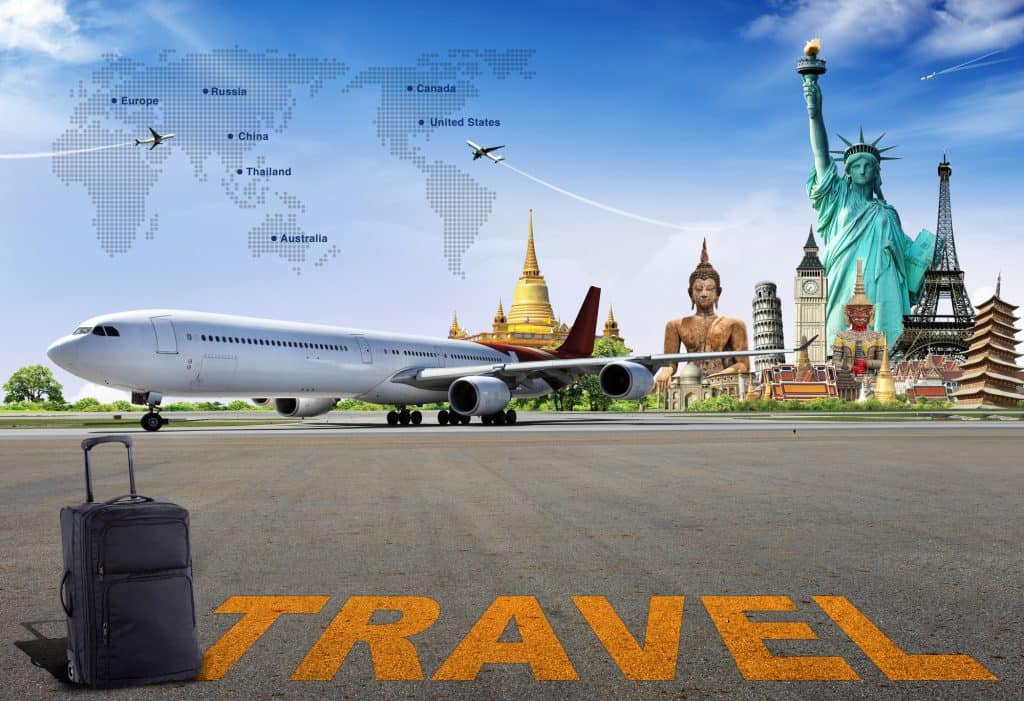 Picture about travel that includes an airplane, the Statute of Liberty, a Big Buddha Statue, a world map, and other attractions