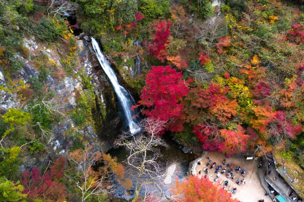 Minoo Park and the Waterfall take from a top, aerial view.