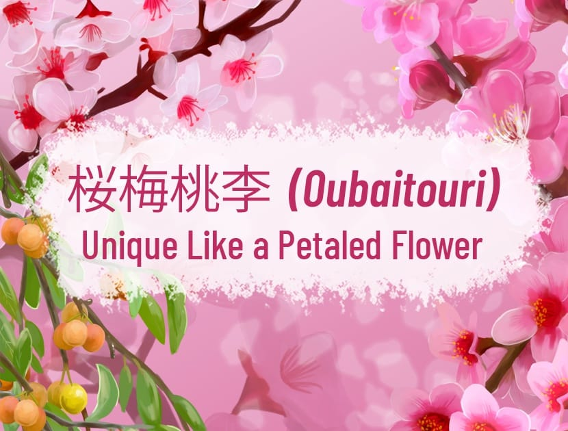 "An illustration on a pink background. There is a different type of plant in each of the four corners (cherry blossoms, plum blossoms, peach blossom and Chinese plum). There is Japanese text in the middle along with the English translation that says, ""Oubaitouri - Unique Like a Petaled Flower."""