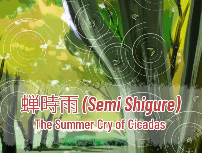 "An illustration of a green tree with several crying cicadas on it. There are other trees in the background. There is Japanese text in the middle with the English translation that says, ""Semi Shigure - Summer Cry of the Cicadas."""