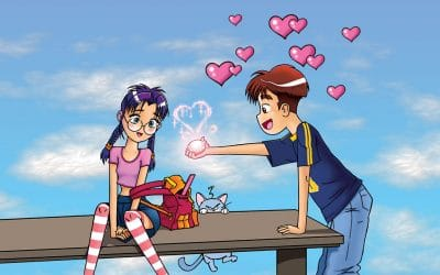 An illustration of a young girl with glasses and purple hair looking at a mystical heart hologram that a boy is holding in his hand with hearts all around his head, signaling love.