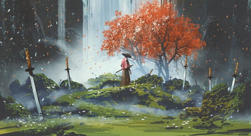 An illustration of a samurai standing in front of a waterfall with swords stuck in the ground all around him.
