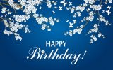 "White butterflies and flowers on tree branches drawn on a blue background with the words ""Happy Birthday"" on the bottom in white text."