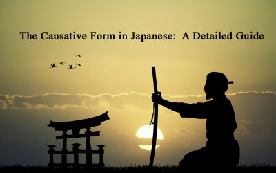 """A silhouette of a Japanese gate and a samurai sitting on his knees holding a sword. The title reads, """"The Causative Form in Japanese: A Detailed Guide"""""""