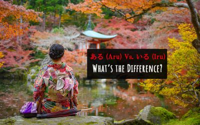"""A young woman in a kimono sitting down on a rock in front of a pond in a Japanese garden. The text on it reads, """"ある (Aru) Vs. いる (Iru) What's the Difference?"""""""