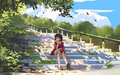 An illustration of a young woman wearing a pink-purple-ish skirt. She is sitting at the bottom of some stairs, with her head resting on her right hand. The sky can be seen in the background, and some trees and plants can be seen in both the foreground and background on the illustration.