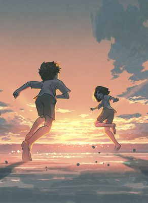 An illustration of a young boy and girl running on the beach towards the ocean with a sunset in the background.